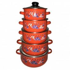Набор кастрюль UNIQUE UN-2356 10пр. эмаль, красный/синиий/зеленый/черный