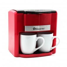 Кофеварка DOMOTEC MS-0705 Красная (500Вт, 2 кер. чашки по 150мл)
