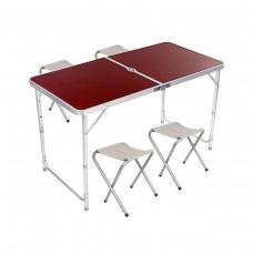 Стол и стулья Easy Campi 1+4 120х60х70см Темное дерево 5464 (складной, для пикника)