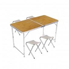 Стол и стулья Easy Campi 1+4 120х60х70см Светлое дерево 5639 (складной, для пикника)