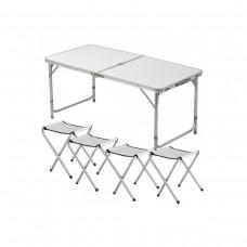 Стол и стулья Easy Campi 1+4 120х60х70см Белый 5363 (складной, для пикника)