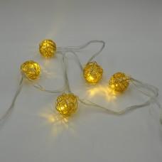 Гирлянда-нить (String-Lights) Metal Ball 10WW-1 внутренняя, пров.:прозрачный, 2м (Белый-теплый)