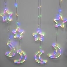 Гирлянда-бахрома (Moons/Stars) Copper Parts 9M-1 внутренняя, пров.:прозрачный, 2.5м (Разноцветная)