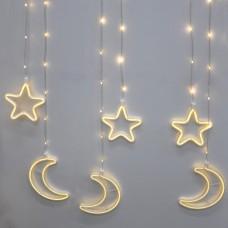 Гирлянда-бахрома (Moons/Stars) Copper Parts 9WW-1 внутренняя, пров.:прозрачный, 2.5м (Белый-теплый)