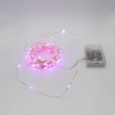 Гирлянда-роса (Copper Wire) 100P-1 Battery внутренняя, пров.:прозрачный, (Розовый)