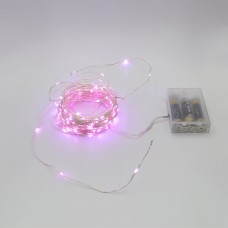 Гирлянда-роса (Copper Wire) 200P-1 Battery внутренняя, пров.:прозрачный,  (Розовый)