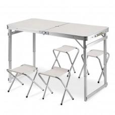 Стол и стулья Easy Campi Усиленный 1+4 Белый  (складной, для пикника)